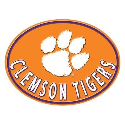 Embossed Oval Metal Sign Orange - White Paw & Clemson Tigers - Mr. Knickerbocker
