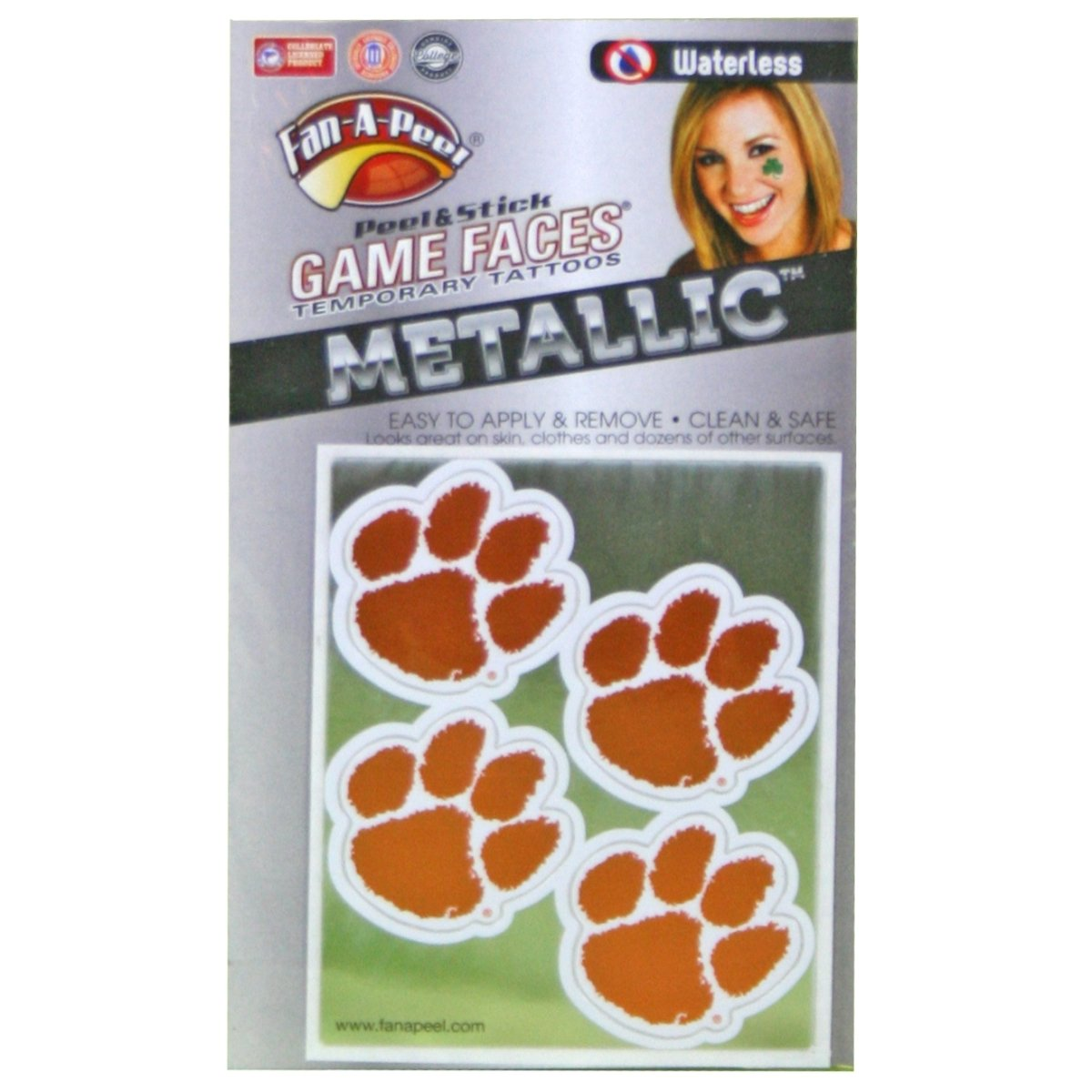 Gamefaces Metallic Peel & Stick Temporary Tattoos 4 Pack Orange and White Paw - Mr. Knickerbocker