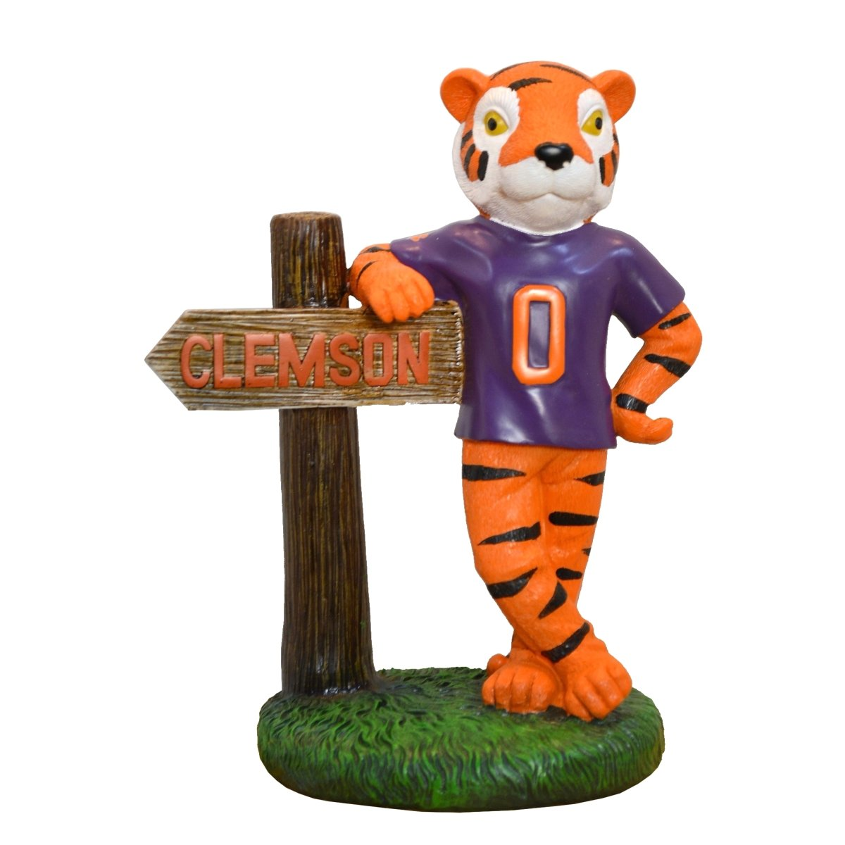 Garden Figurine Mascot With Sign and Purple Shirt 10'' - Mr. Knickerbocker
