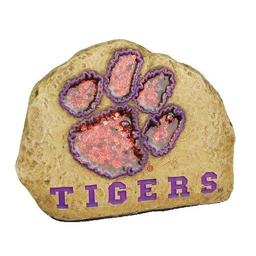 Garden Stone With Orange Glitter Paw and Purple Tigers - Mr. Knickerbocker