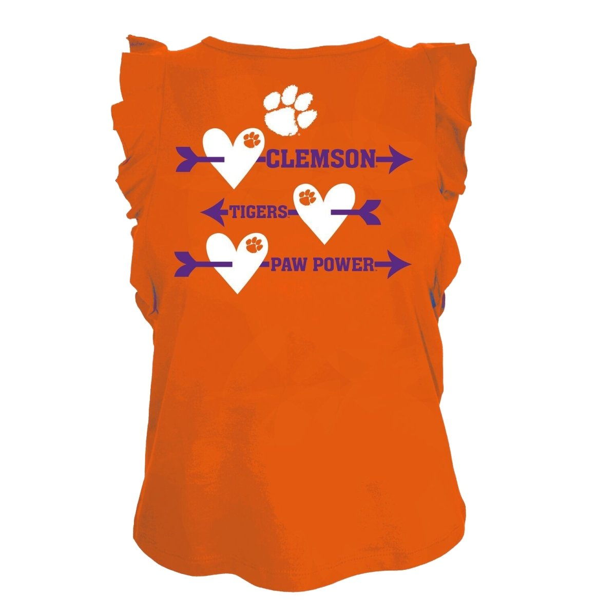 Girls Ruffle Tee Arrows/Hearts Clemson Tigers Paw Power - Mr. Knickerbocker