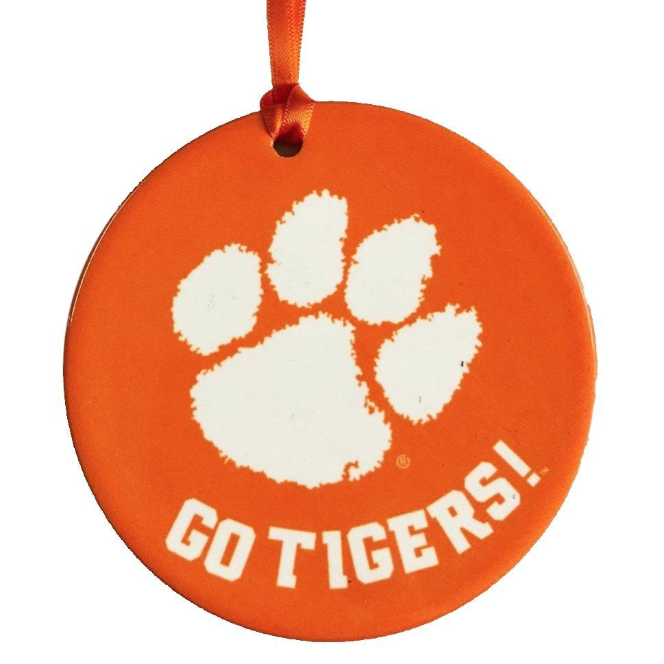 "Go Tigers 3.75"" Ceramic Disc Mascot Ornament - Mr. Knickerbocker"