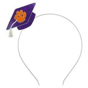 Graduation Cap Hairband Purple Glitter With Orange Paw - Mr. Knickerbocker