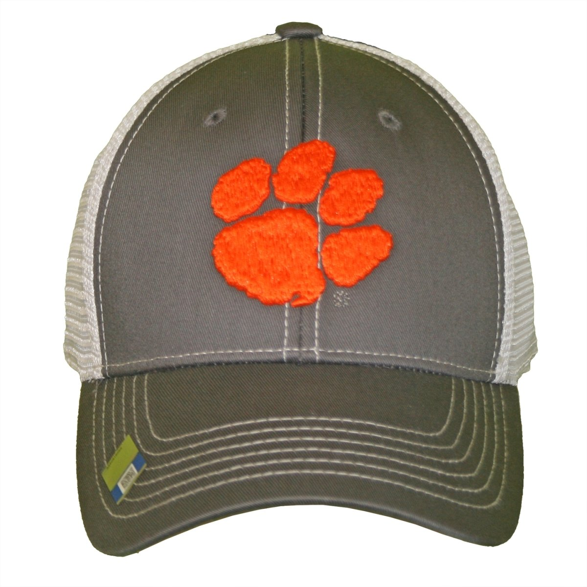 Grey Ghost 2-tone Trucker Hat Mesh Snapback With Orange Paw - Mr. Knickerbocker
