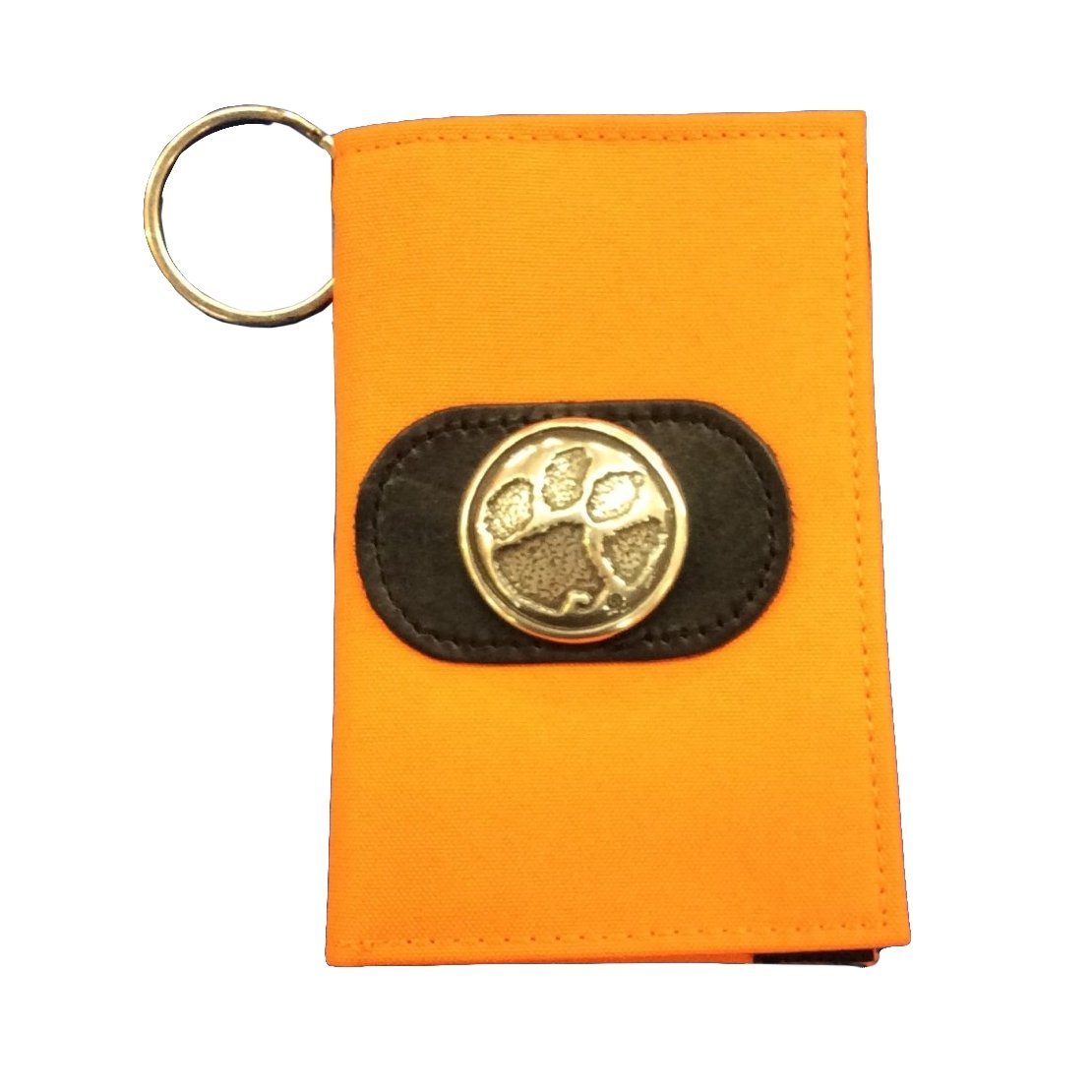 Id Holder/Key Ring - Orange Nylon With Gold Paw Concho - Mr. Knickerbocker