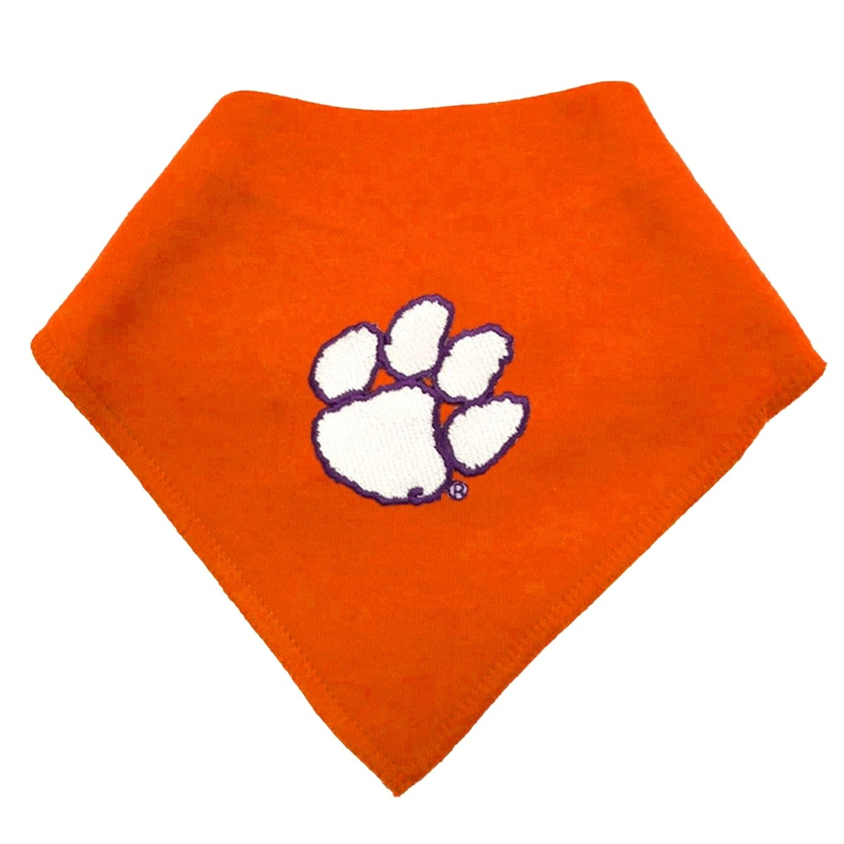 Infant Solid Bandana Bib With White Paw Purple Outline - Mr. Knickerbocker