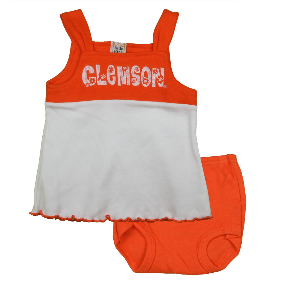 Infant Tank Dress With Bloomers Embroidered Clemson Flowers - Mr. Knickerbocker
