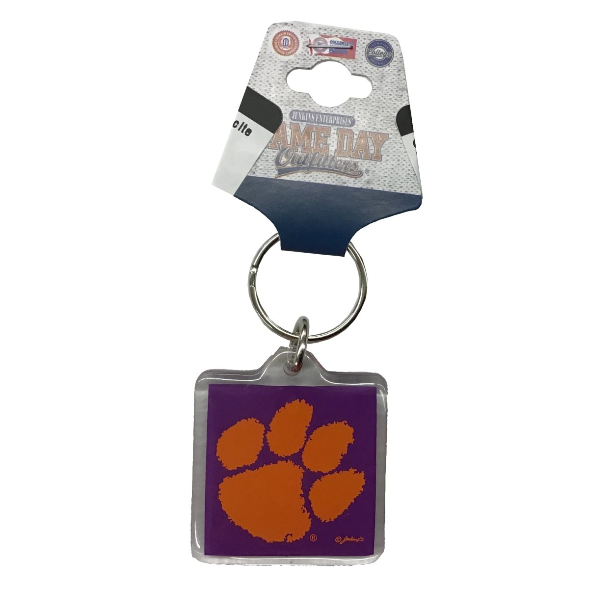 Keychain Lucite Square Purple With Orange Paw - Mr. Knickerbocker