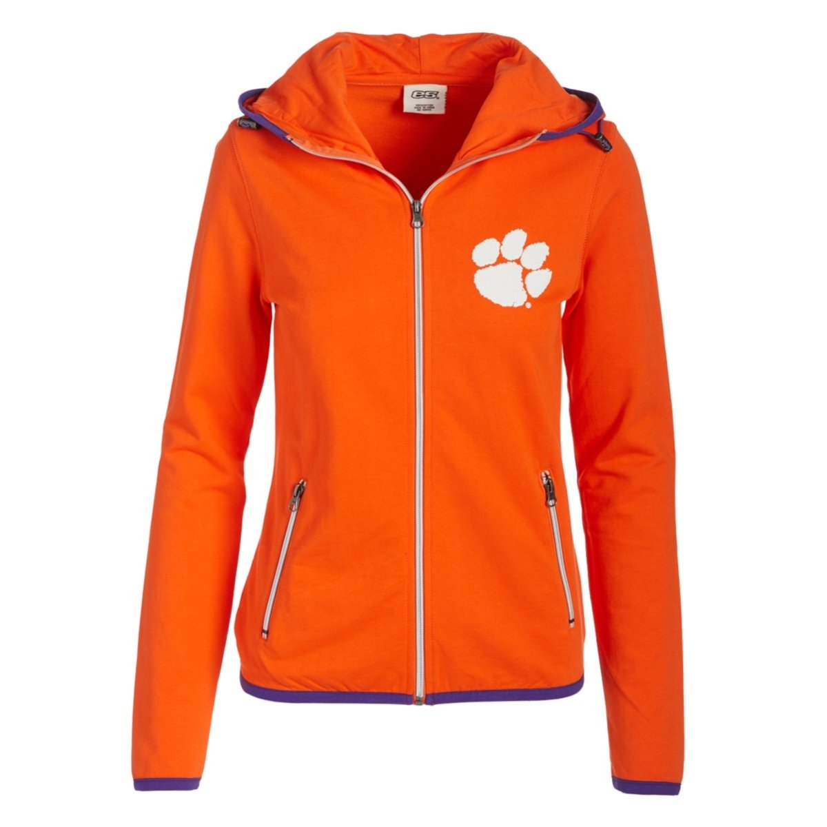 Ladies French Terry Full Zip Hoodie White Paw Left Chest Clemson Arch on Back - Mr. Knickerbocker
