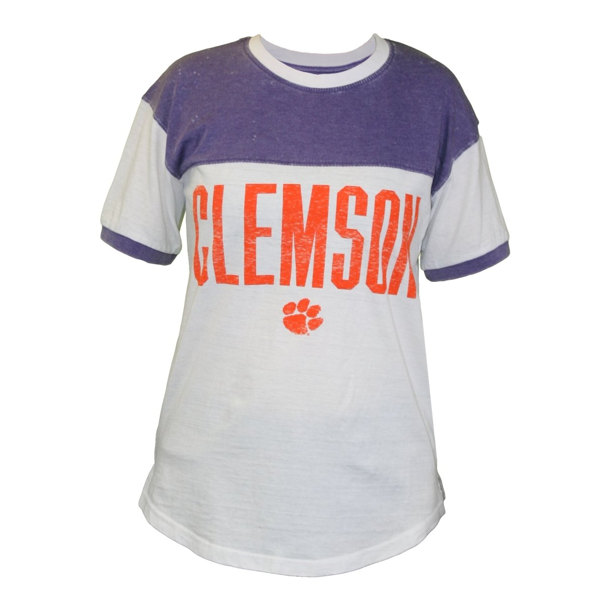Ladies Pieced Blocked Tee Orange Clemson Over Paw - Mr. Knickerbocker