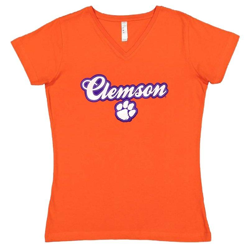 Ladies V-neck Clemson and Paw Puff - Mr. Knickerbocker