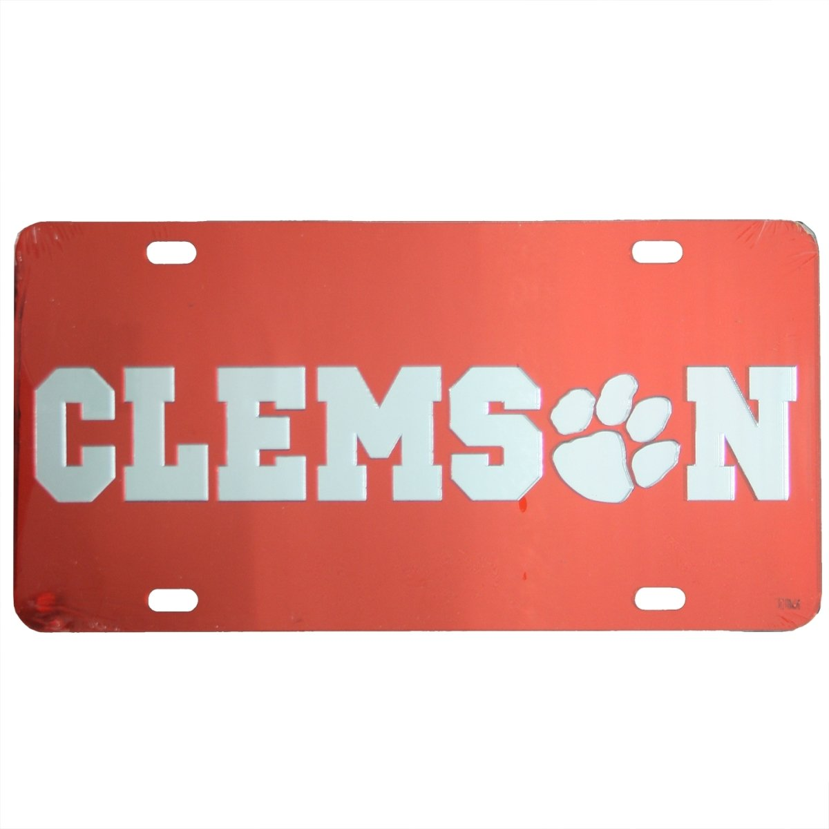 Laser Cut Mirrored Clems(paw)n Car Tag Orange With Silver Logo - Mr. Knickerbocker