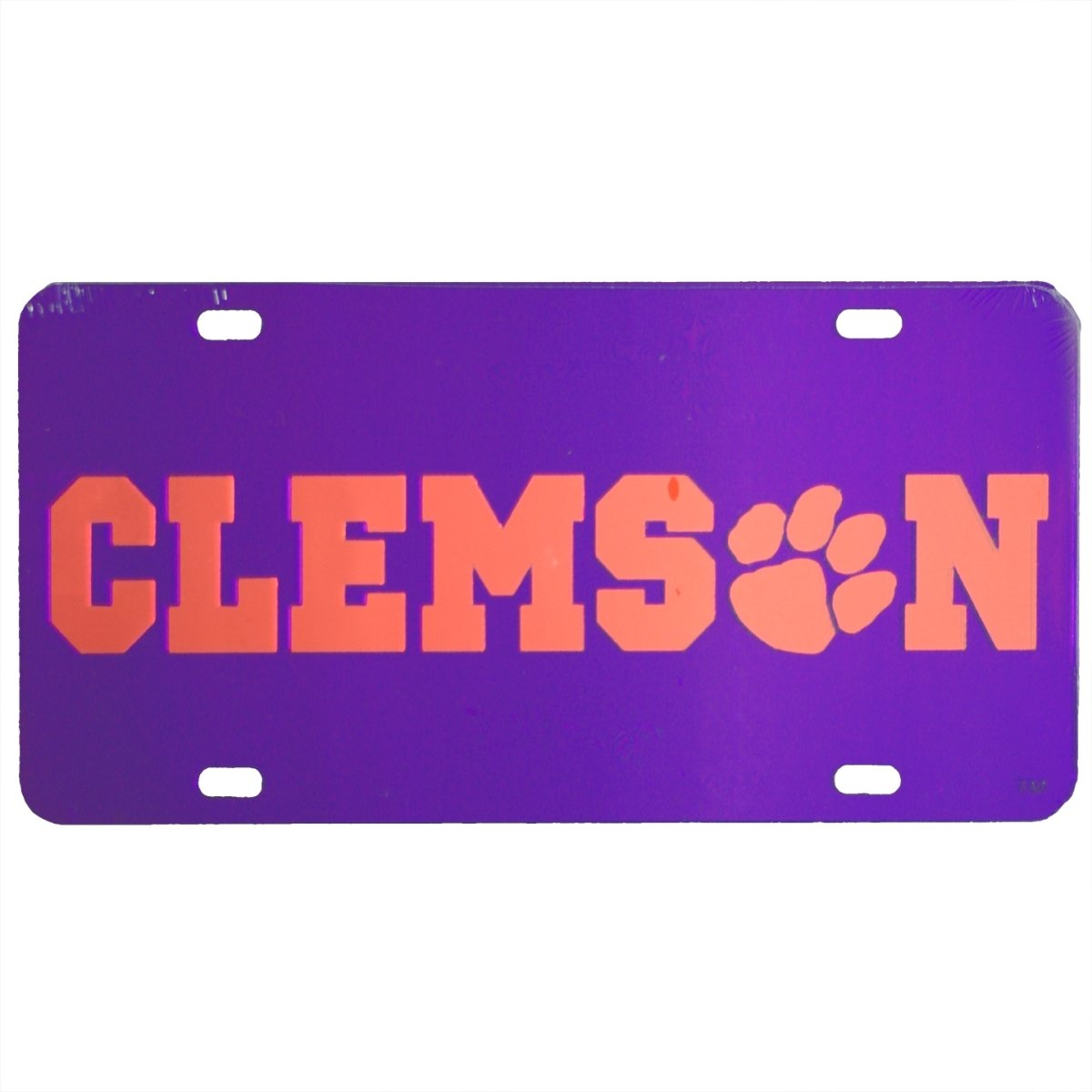 Laser Cut Mirrored Clems(paw)n Car Tag Purple With Orange Logo - Mr. Knickerbocker