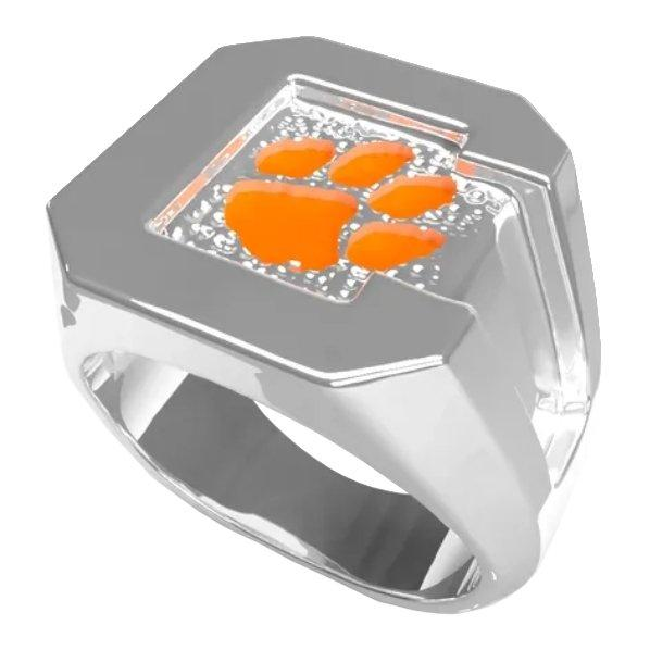 Mens Orange and Silver Paw Ring - Mr. Knickerbocker