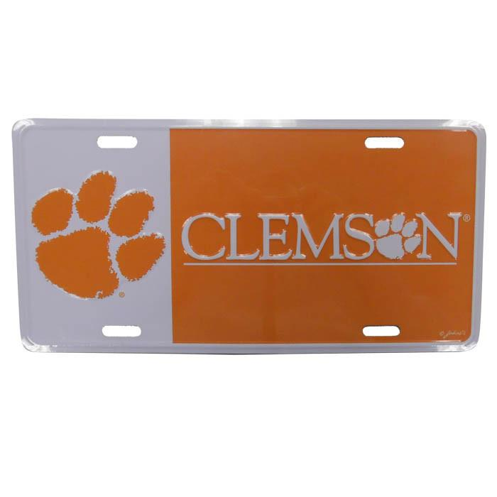 Metal Car Tag-split Orange/white Paw/wordmark - Mr. Knickerbocker