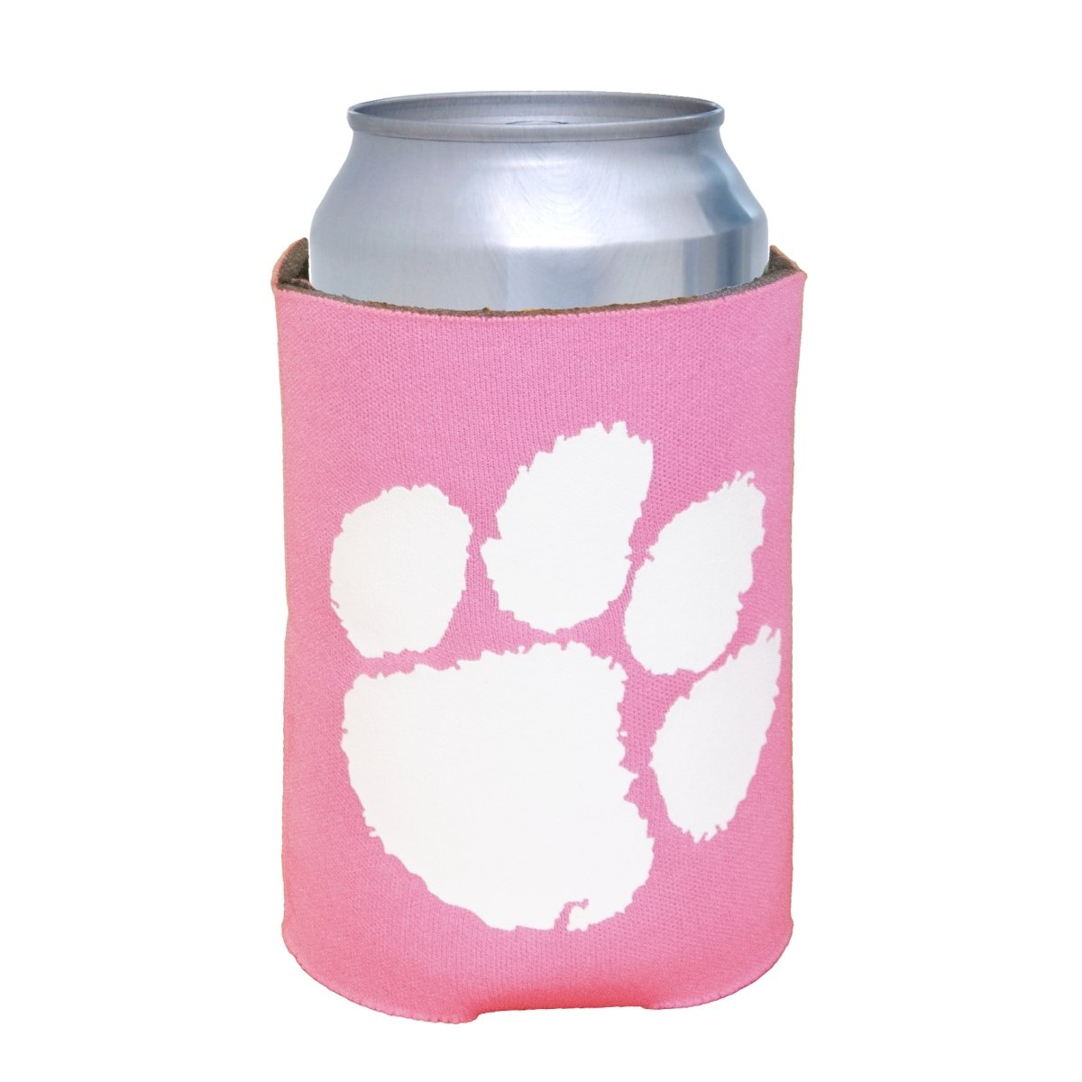 Neoprene Koozie Pink With White Paw - Mr. Knickerbocker