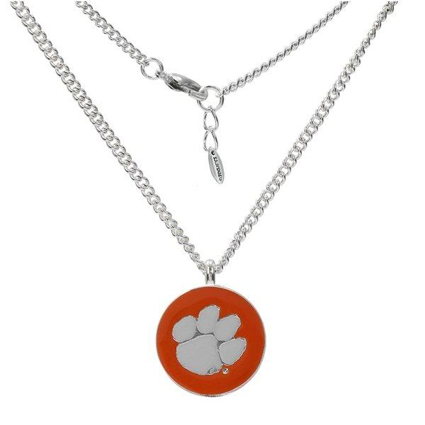 Nichelle Necklace - Round Pendant - Orange With White Paw - Mr. Knickerbocker