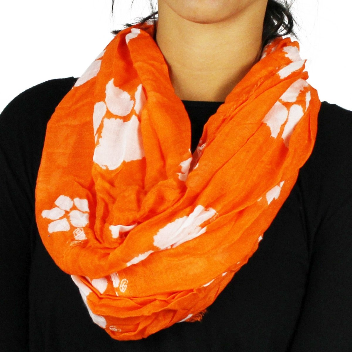 Orange Infinity Scarf with White Paws - Mr. Knickerbocker