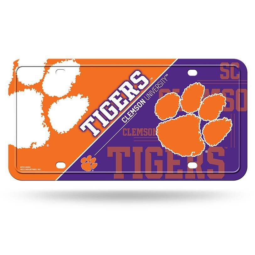 Rico Clemson Tigers Metal Orange and Purple Car Tag - Mr. Knickerbocker