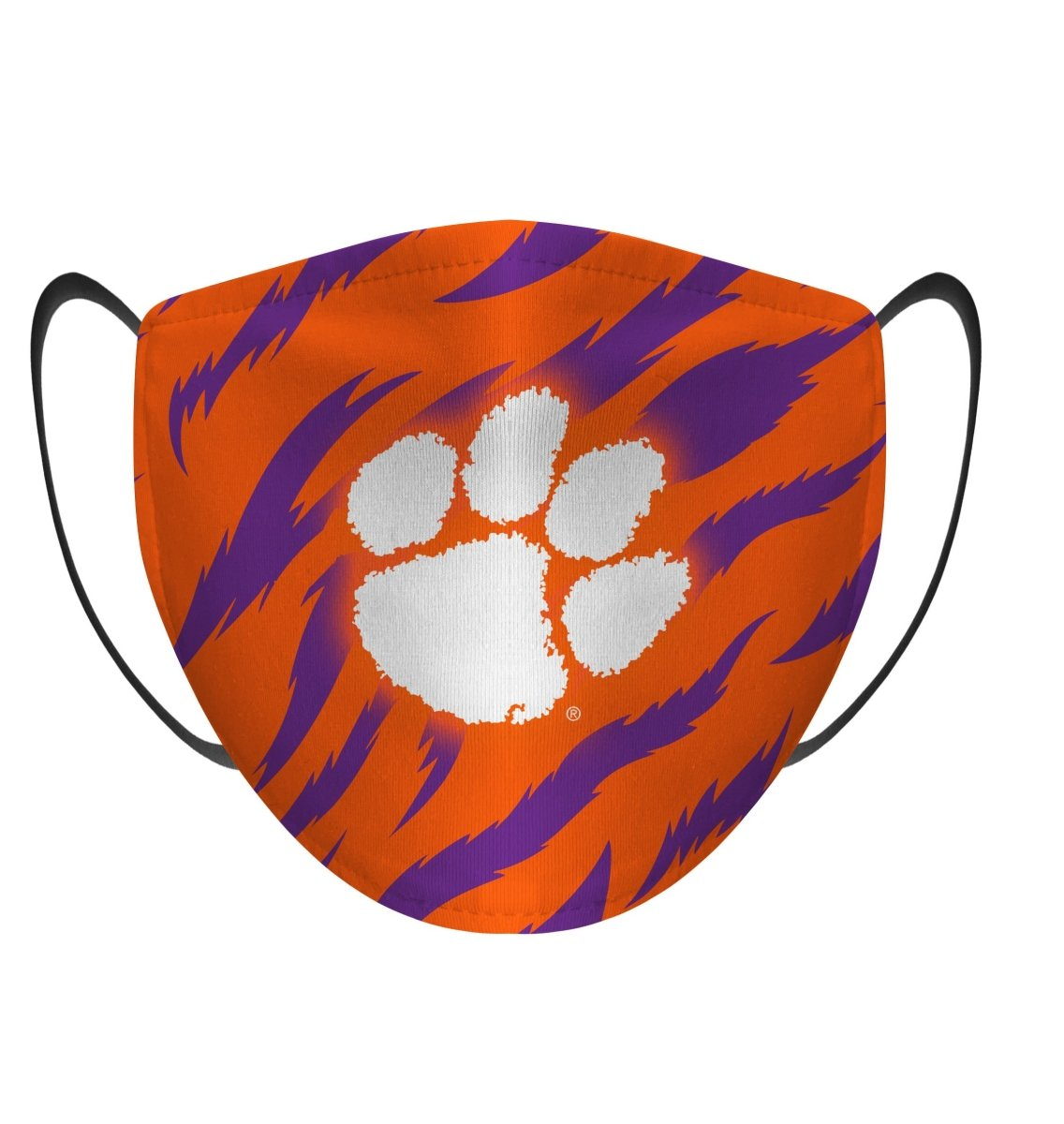 Rock 'Em Face Mask- Orange and Purple Tiger Stripe with White Paw - Mr. Knickerbocker