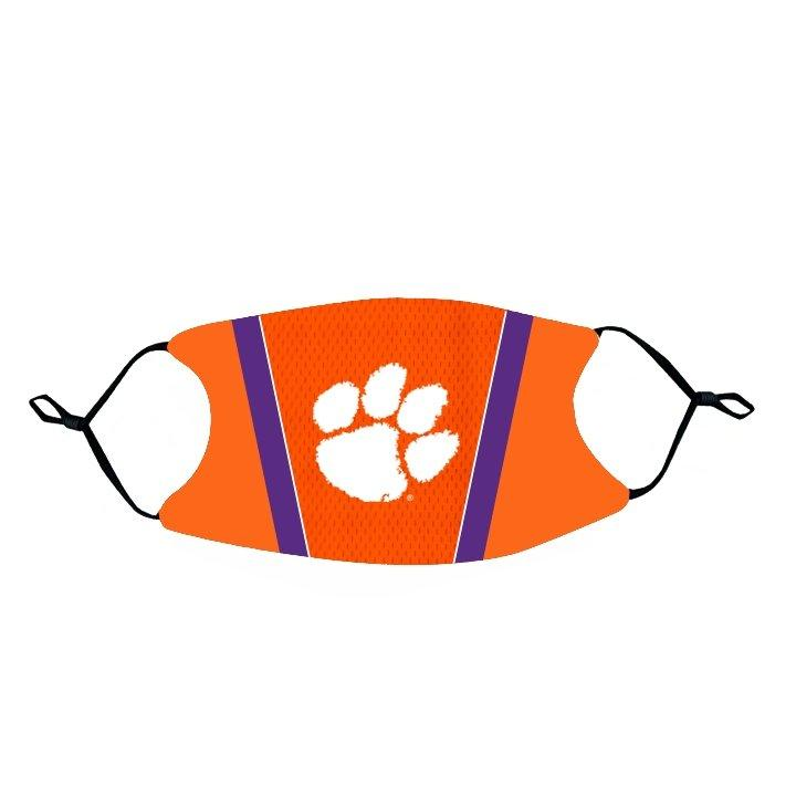 Rock 'Em Face Mask- Orange, Purple Stripe with White Paw - Mr. Knickerbocker