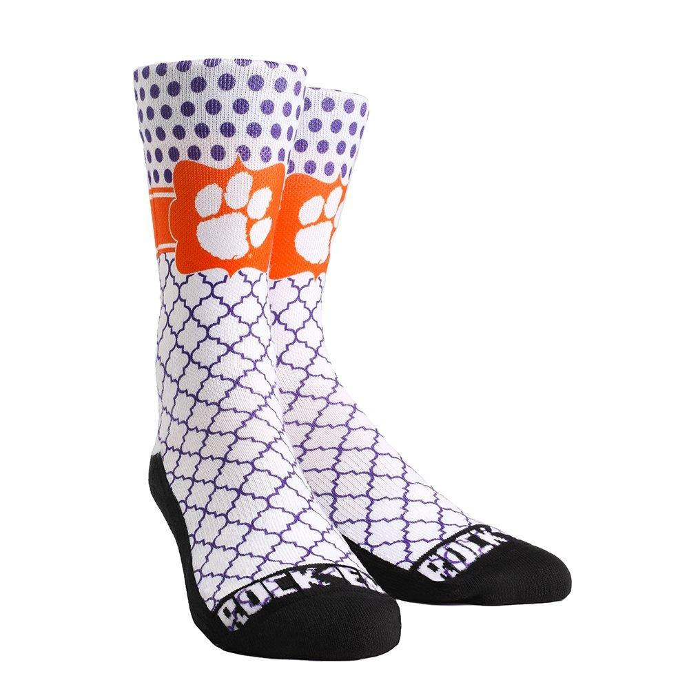 Rock 'em Socks Clemson Tigers Quatrefoil Dots - Crew Cut - Mr. Knickerbocker
