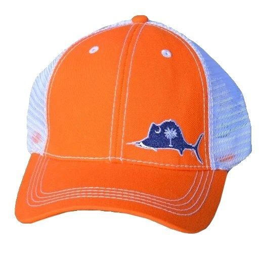 Sailfish Palmetto Moon Flag Trucker Hat Orange Adj. Fit - Mr. Knickerbocker