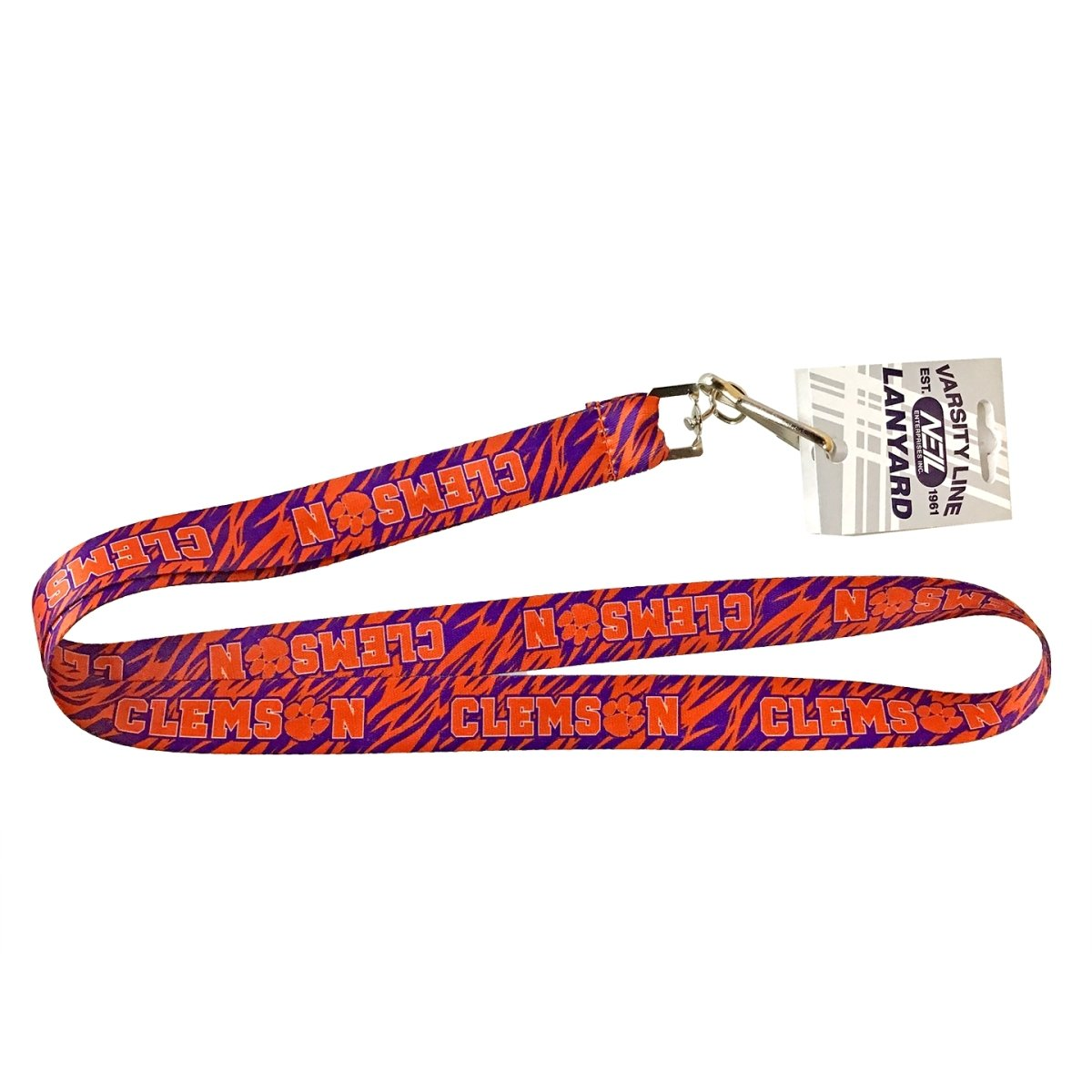Satin Lanyard 3/4'' Tiger Stripes With Clemson Orange Imprint - Mr. Knickerbocker