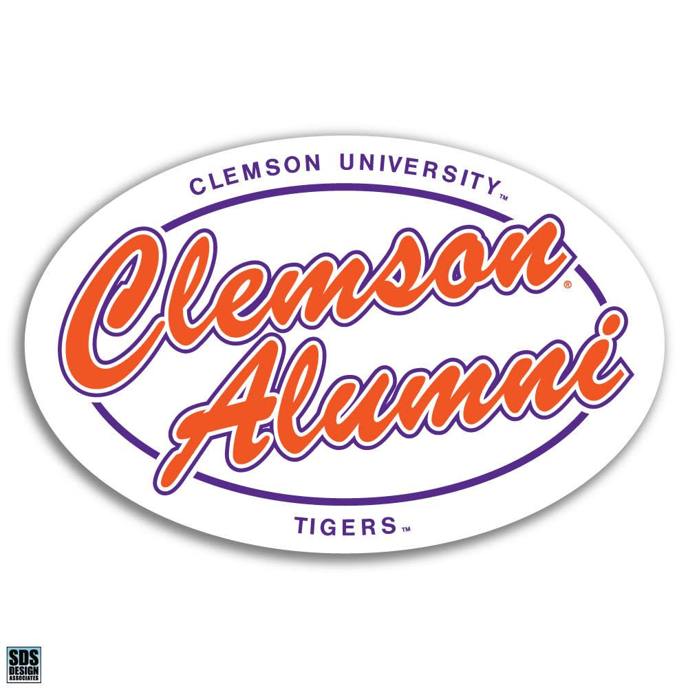 "SDS Design 6"" Clemson Script Oval Decal - Mr. Knickerbocker"