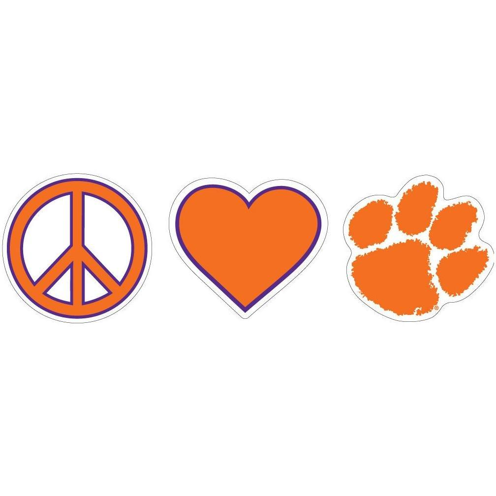 "SDS Design Clemson ""peace, Love, and Clemson"" 6"" Decal - Mr. Knickerbocker"