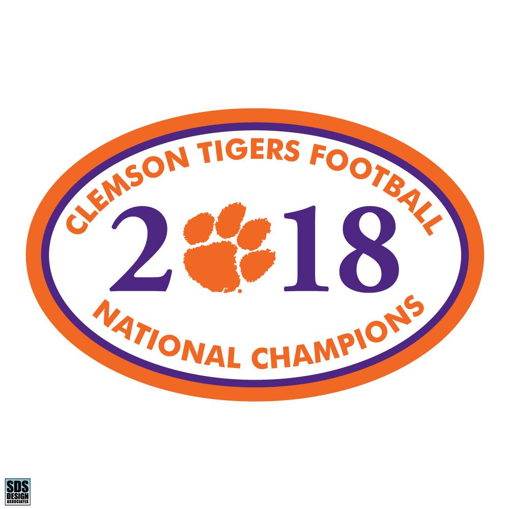 "SDS Design Clemson Tigers 2018 National Football Champions 6"" Oval Decal - Mr. Knickerbocker"