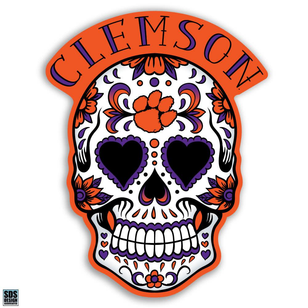 SDS Design Clemson Tigers Sugar Skull Decal With Arch - Mr. Knickerbocker