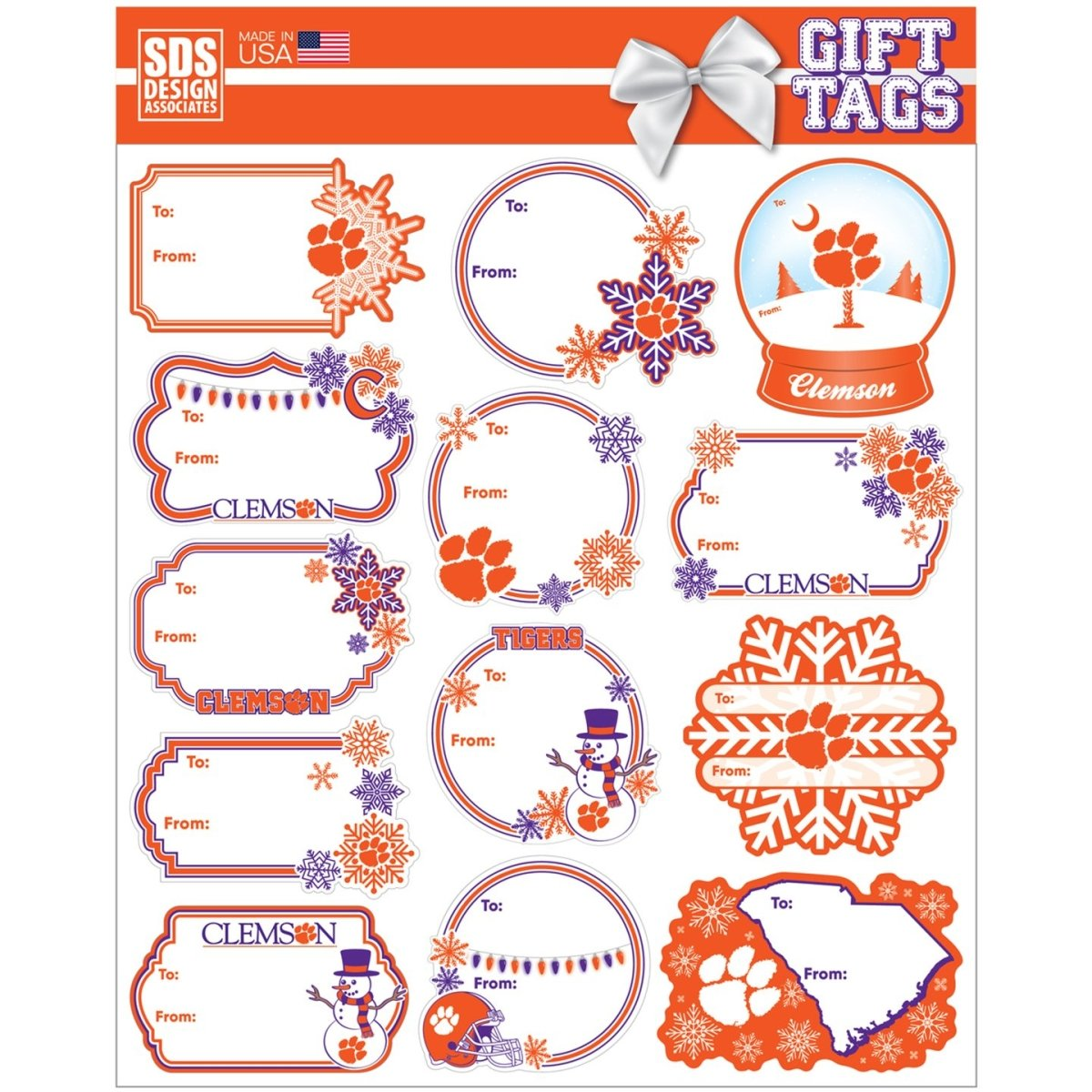 SDS Designs Clemson Gift Tags Sheet - Mr. Knickerbocker