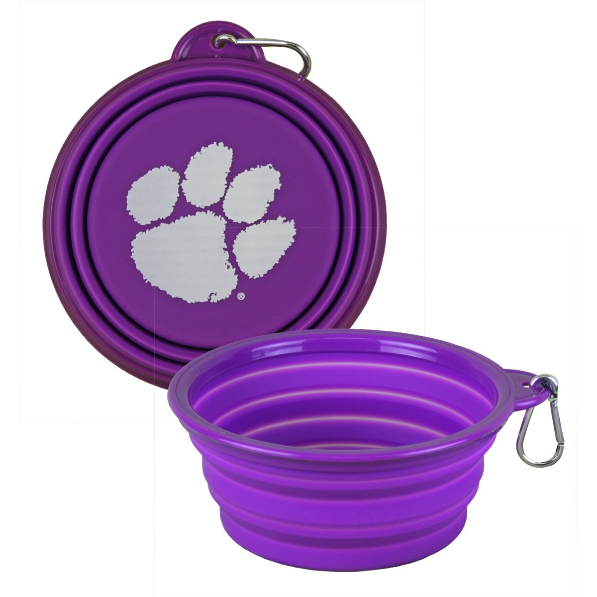 Silicone Collapsible Dog Bowl With White Paw - Mr. Knickerbocker