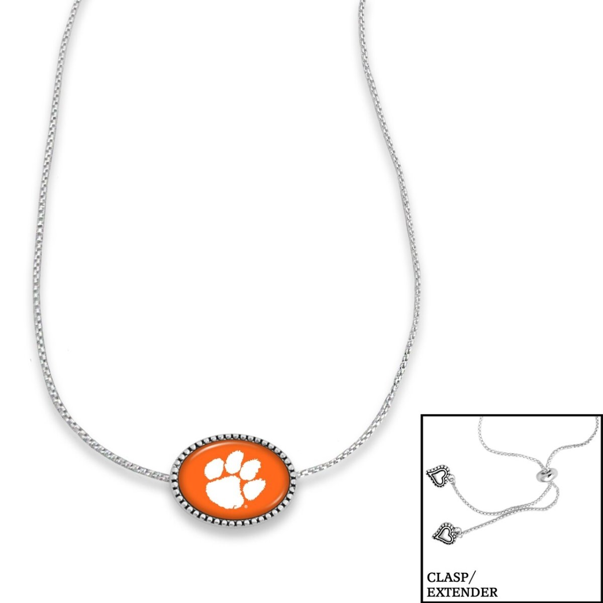 Silver Adjustable Slide Necklace Oval Orange With White Paw - Mr. Knickerbocker