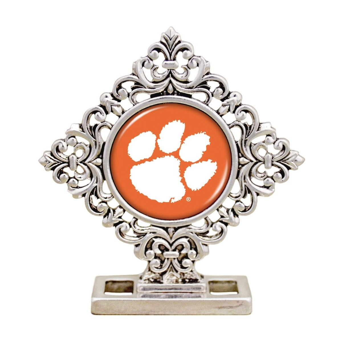 Silver Desk Decor Diamond Shape Orange White Paw - Mr. Knickerbocker