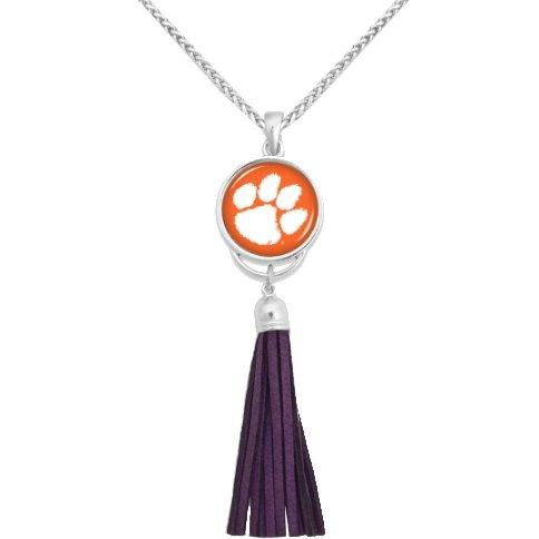 Silver Necklace With Purple Tassel Orange With White Paw - Mr. Knickerbocker
