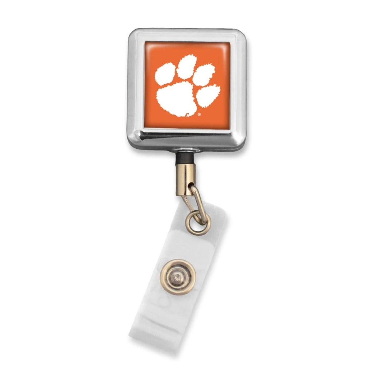Silver Square Badge Reel Orange With White Paw - Mr. Knickerbocker