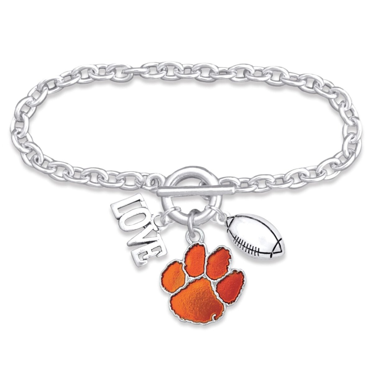 Silver Tone Paw Touchdown Bracelet With Love and Football Charm - Mr. Knickerbocker