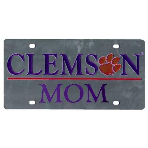 "Stockdale Clemson ""mom"" Silver Car Tag With Paw Print - Mr. Knickerbocker"