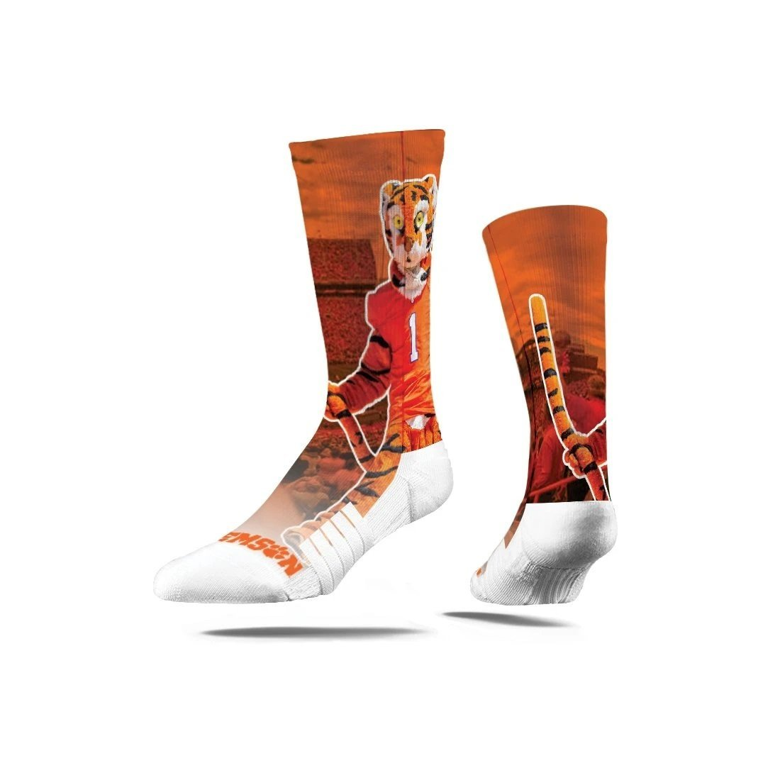 Strideline Clemson Mascot Crew Socks - Mr. Knickerbocker