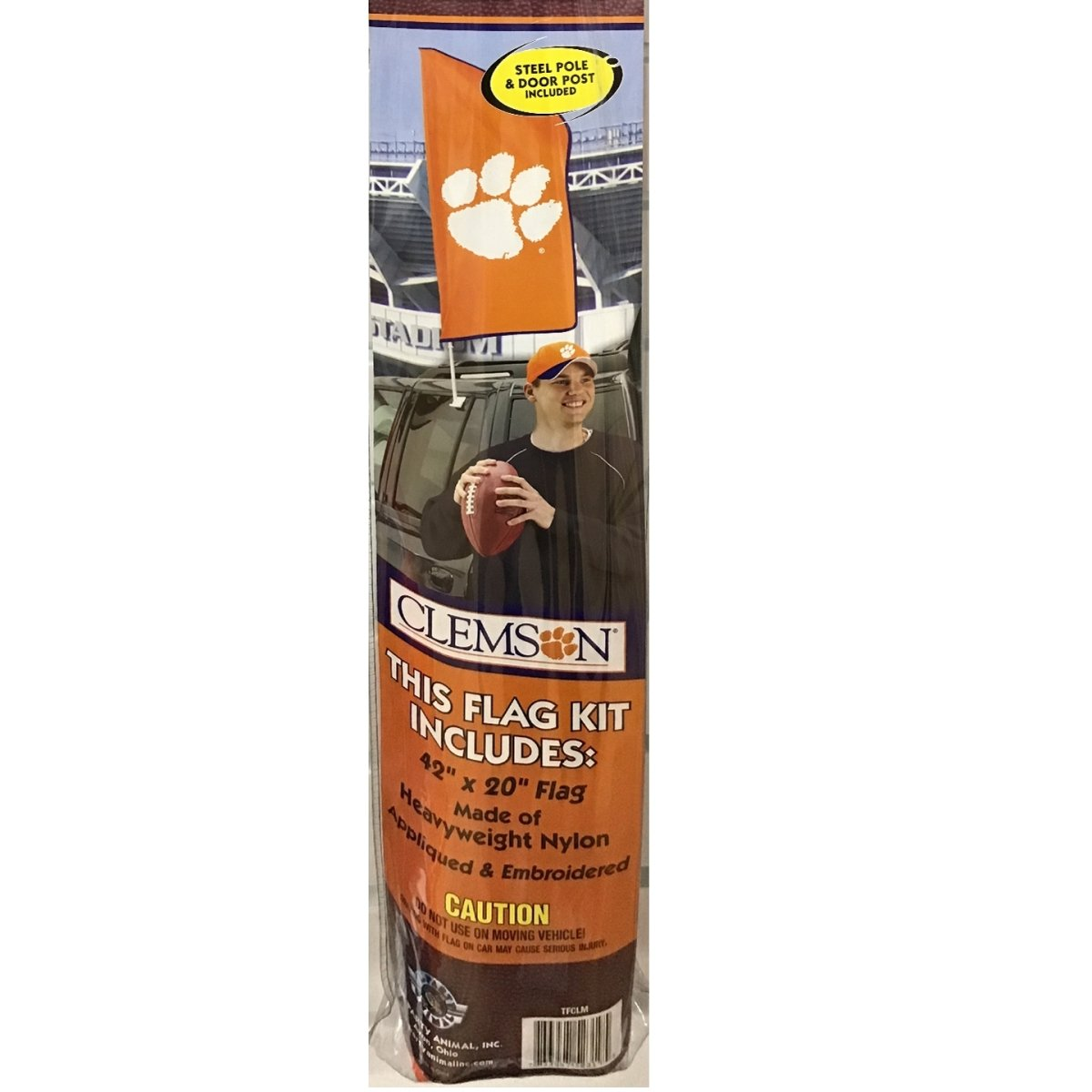 Tailgate Flag Kit - 42'' Tall X 20'' Wide Orange With With Paw - Mr. Knickerbocker