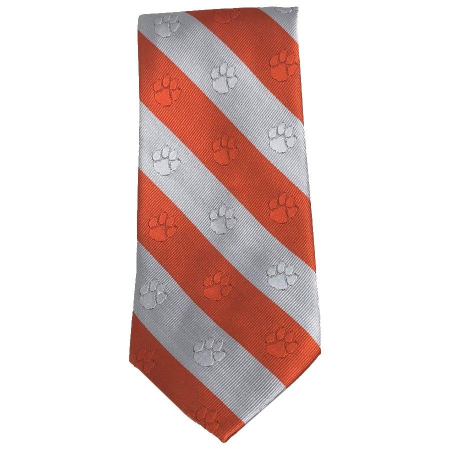 Tonal Logo Stripe Necktie Orange/white - Mr. Knickerbocker