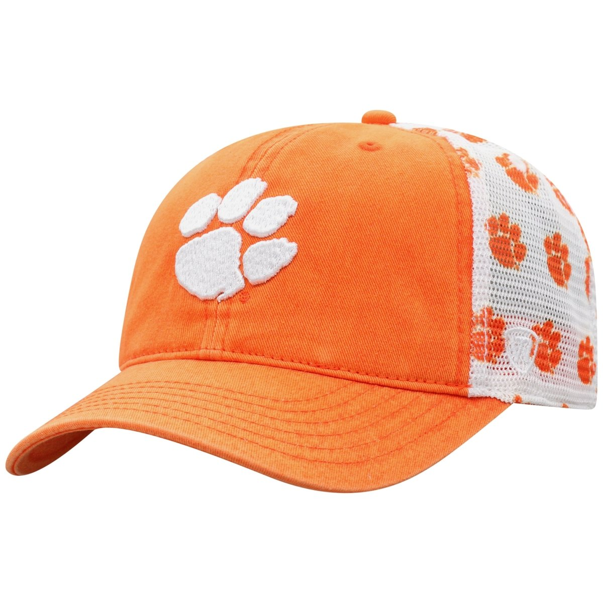 Top of the World Clemson Racer Trucker Hat With All Over Print Paws - Mr. Knickerbocker
