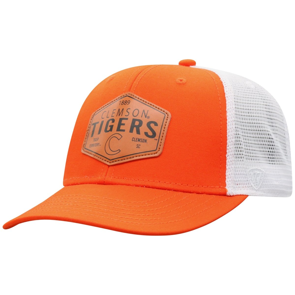 Top of the World Clemson Tigers Edge Trucker Hat With Leather Shield - Mr. Knickerbocker