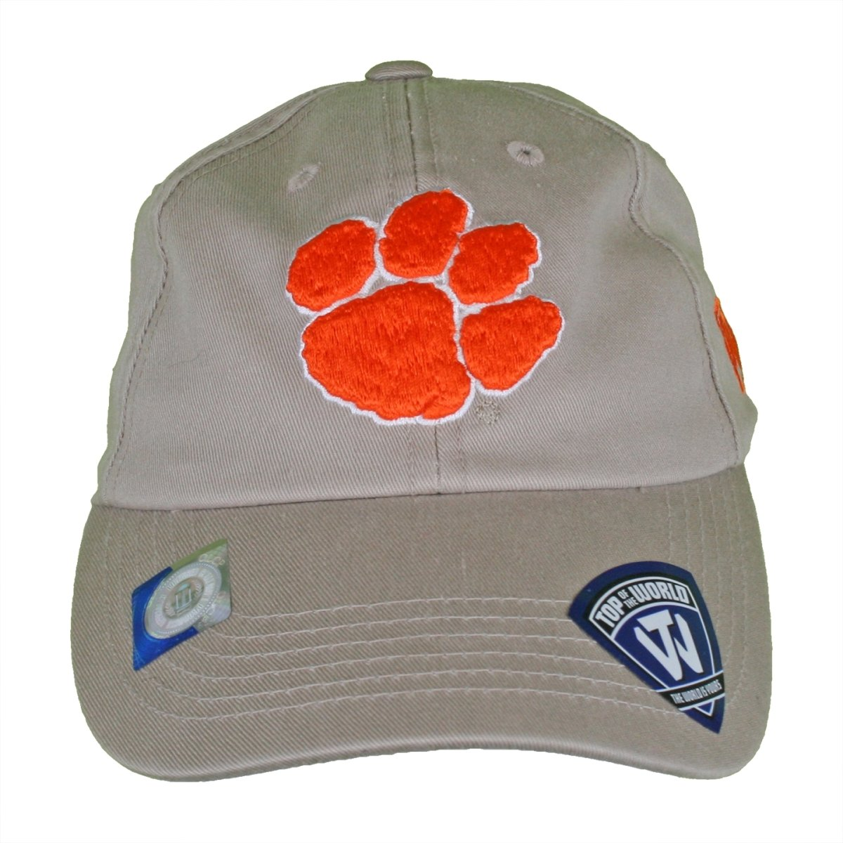 Top of the World Clemson Tigers Pawprint Washed Cotton Letterman Fitted Hat - Mr. Knickerbocker