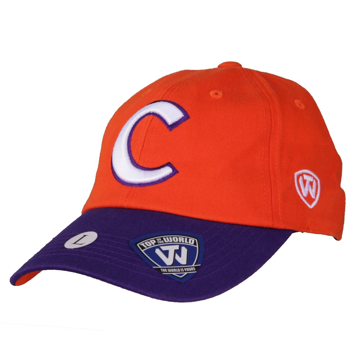 Top of the World Clemson Tigers Script Letterman Fitted Hat - Orange and Purple - Mr. Knickerbocker