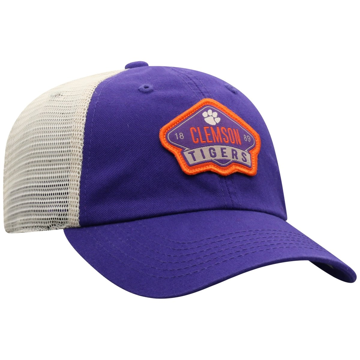 "Top of the World Clemson Tigers ""Vegas Patch"" Purple Trucker Hat - Mr. Knickerbocker"