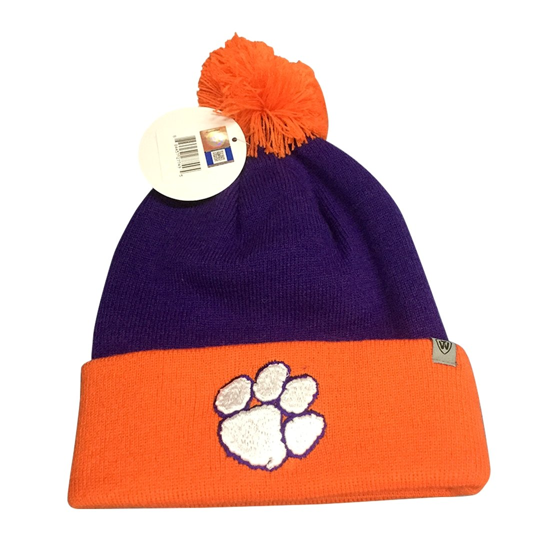 Tow Pom 3 Stocking Cap W/wht Paw 2tn Pur/org - Mr. Knickerbocker