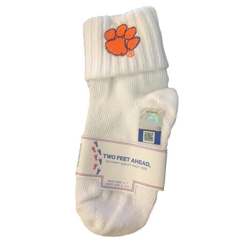 Two Feet Ahead Clemson Tigers Bobby Socks With Paw - Mr. Knickerbocker